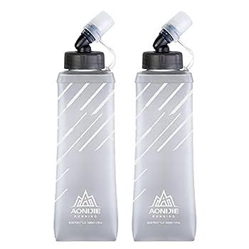 TRIWONDER Bouteille d'eau Souple TPU 250ml 420ml 500ml Flacon de Sport Gourde Souple Pliable Poche Hydratation Réservoir d'eau pour Sac à Dos Running (Gris - 420ml - 2 Pièces)