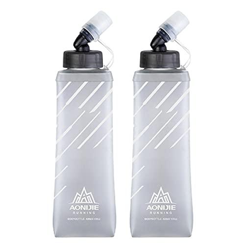 TRIWONDER TPU Soft Flask Botella de Agua Flexible Botella Blanda Plegable para Running Senderismo Ciclismo Correr Mochila de Hidratación (Gris - 420ml - 2 Pcs)