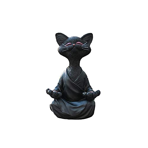 Skurriles schwarze Buddha-Katze-Figur, Meditation, Yoga, Sammlerstück Happy Cat Gartenstatue, Skulpturen, Heimdekoration, Ornamente