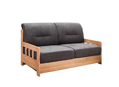 lifestyle4living Schlafsofa in Grau-Braun zum Ausziehen mit 2 Liegeflächen | Microfaser/Massivholz/Federkern | Gemütliches Sofa mit Schlaffunktion im Landhaus-Stil