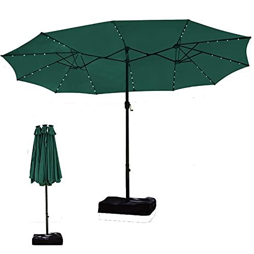 Sonnenschirm mit Ständer, Gartenschirm Marktschirm, Doppelsonnenschirm mit Kurbel, Sonnenschirm Schutzhülle, UV50+, Sonnenschirm Groß LED-Solar(Hergeben Freie Sonnenschirmfuß)(2.7M x 4.60M)