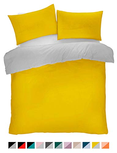 Lions Ochre and Grey Reversible Plain Duvet Quilt Cover Set Double With Pillowcase Easy Care Bedding