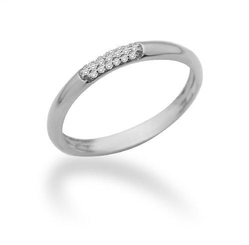 Miore Damen-Ring Memoire 9 Karat (375) Weißgold mit Brillanten 0.06ct Gr. 52 MF9008RWM