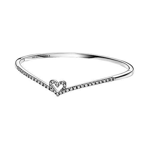 Pandora Wish funkelnder Wishbone Herz Armreif aus Sterling Silber / Größe: 16cm (S)
