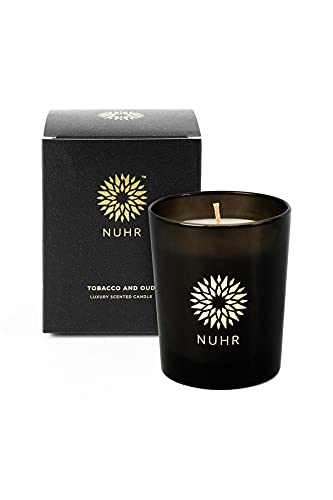 NUHR Home Tobacco & Oud Luxury Scented Candle 50 Hours Burn, Rich Scent with Refined White Candle Wax, 200 gm Scented Tealight Votive Candle