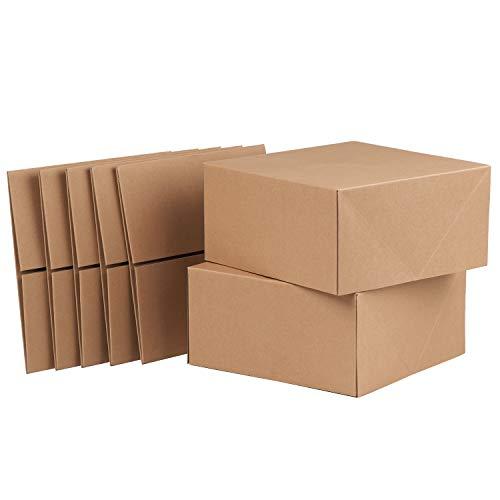 RUSPEPA Scatole Regalo in Cartone Quadrato da 20,5 X 20,5 X 10,2 CM, Confezione Regalo per Tazze da caffè con Coperchio, Confezione da 10 Pezzi (Kraft)