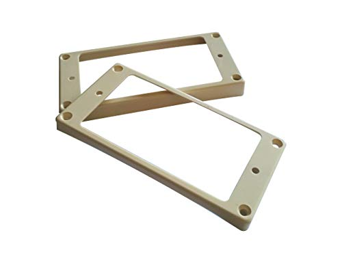 Guyker 2Pcs Pickup Mounting Rings Curved for Humbucker – Plastic Bridge and Neck Pickups Cover Frame Set Replacement for LP PSR Style Electric Guitar (Ivory)