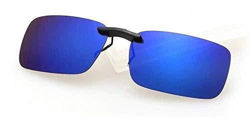 SEESEE.U - Gafas de sol polarizadas unisex con clip para conducir con visión nocturna, lentes de visión nocturna antirayos UV, antiUV, antirayos UV, ciclismo, equitación, clip-oscuro_azul_Slice_China