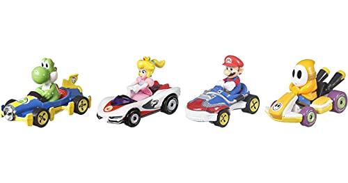 Hot Wheels Mario Kart Pack con 4 Mini Coches de Juguete con Personaje, Regalo para Niños +3 Años (Mattel GWB38)