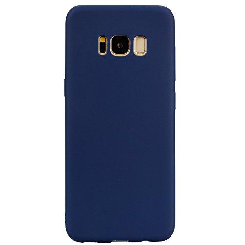 cuzz Funda para Samsung Galaxy S8 Plus+{Protector de Pantalla de Vidrio Templado} Carcasa Silicona Suave Gel Rasguño y Resistente Teléfono Móvil Cover-Azul Oscuro