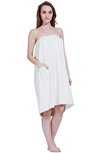SINLAND Women's Spa Wrap Microfiber Bath Wrap Shower Robes with Adjustable Closure