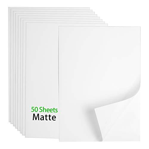 "Premium Printable Vinyl Sticker Paper - 50 Matte White Waterproof Decal Paper Sheets for Inkjet Printer Standard Letter Size 8.5""x11"""