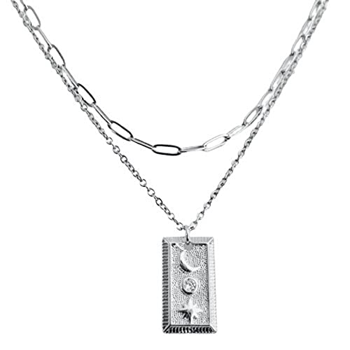 shopping pre- latest layered necklace: CZ cubic zirconia rectangle; STAR MOON