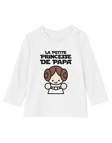 Green Turtle Cadeau Père Fille - Princesse De Papa T-Shirt Bébé Unisex Manches Longues 3-6M 60/66cm Blanc