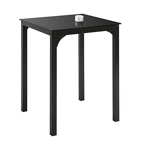 SoBuy OGT38-K-SCH Esszimmertisch Esstisch mit Glasplatte Küchentisch Schreibtisch Balkontisch Gartentisch Glastisch BHT ca.: 60x75x60cm