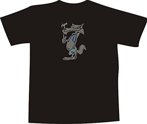 Black Dragon - T-Shirt E823 - weiß - Größe XL - Logo - Grafik - Comic Design - grinsender Wolf mit Golfschläger - Funshirt Mann Frau Party Fasching Geschenk Arbeit - Bedruckt