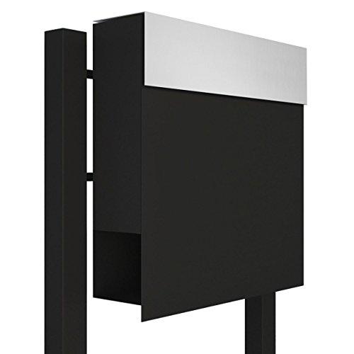 Standbriefkasten mit Zeitungsfach, Design Briefkasten Manhattan Stand Schwarz/Edelstahl - Bravios