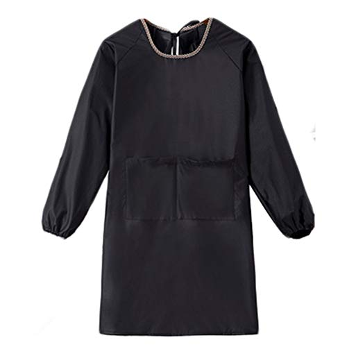 WHAIYAO Aprons Long Sleeve With Pockets Smock Overalls Adult Home Kitchen Business Waterproof And Oil Proof, 5 Colors, 2 Sizes (Color : Black, Size : 95cmX52cm)