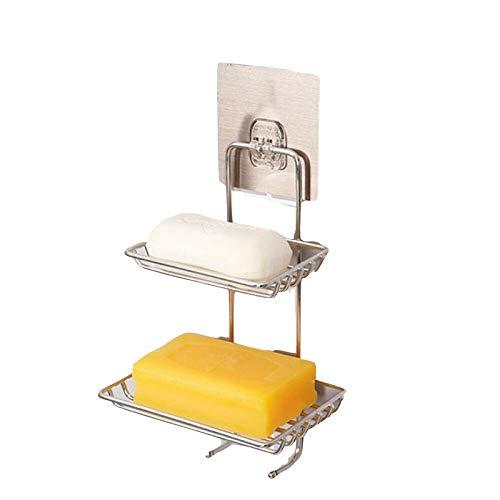 Mzzck zeepbakje voor de badkamer, sterke zuigkracht aan de muur, zeepbakje, houder met dubbele legplank, plank voor douche of badkuip