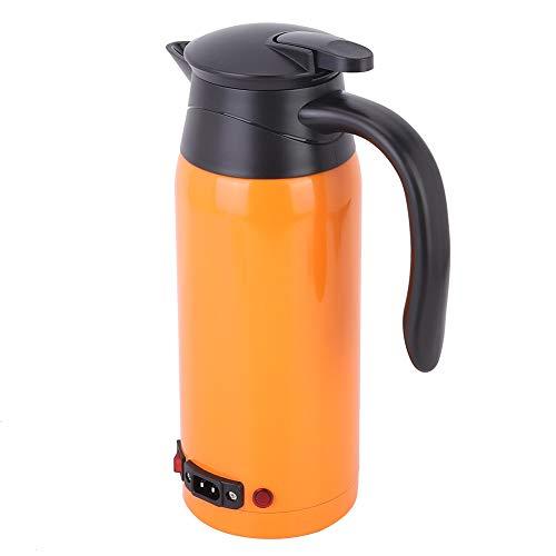 Elektrische waterkoker voor in de auto, elektrische waterkoker met grote capaciteit, voor kokend water noedels(Oranje)