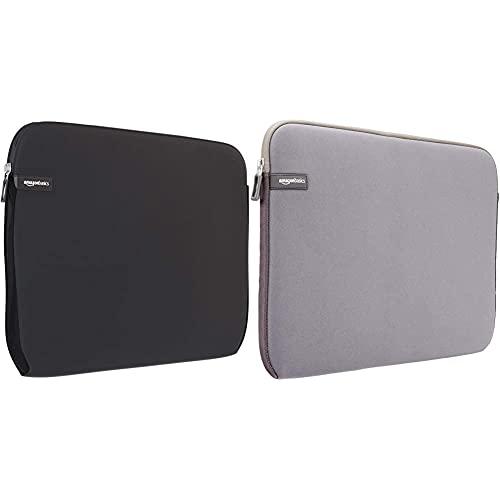 Amazon Basics Schutzhülle für Laptops mit Einer Bildschirmdiagonale von 38,1-39,6cm (15-15,6Zoll) & Laptop-Schutzhülle, für eine Bildschirmdiagonale von 15 - 15,6Zoll, Grau