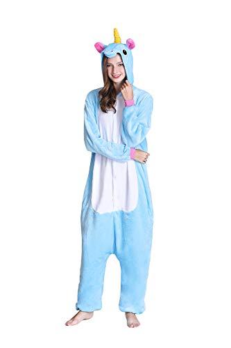 Kimpola Unicornio Pijamas de una Pieza para Unisexo Adulto Niños Cálido Interiores Tela de Franela Estilo de Dibujos Disfraces Animados Camisones Ropa de Dormir Halloween Cosplay Carnaval Navidad