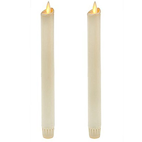 "Ksperway 8"" Set of 2 Ivory Unscented Wax Flameless Taper Candles Moving Wick LED Candle with Timer and Remote"