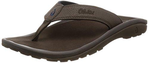 OLUKAI Men's Ohana Sandals, Dark Wood/Dark Wood, 10