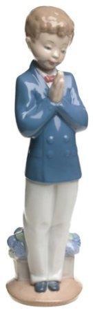 Unbekannt Lladro Nao by Lladro Porzellanfigur, Aufschrift Time to Bet, ca. 8 3/4 hoch, Kirchenjunge zur Erstkommunion von Lladro