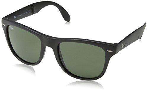 Ray-Ban Folding Wayfarer Gafas de sol, Matte Black, 55 para Hombre