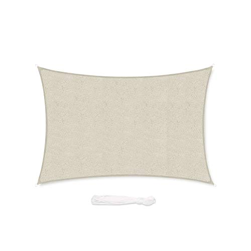 Sekey Vela Parasole Rettangolare Traspirante Permeabile in HDPE Protezione Antivento per Giardino Terrazza Campeggio Patio Party, con Corda, 3×4m Taupe