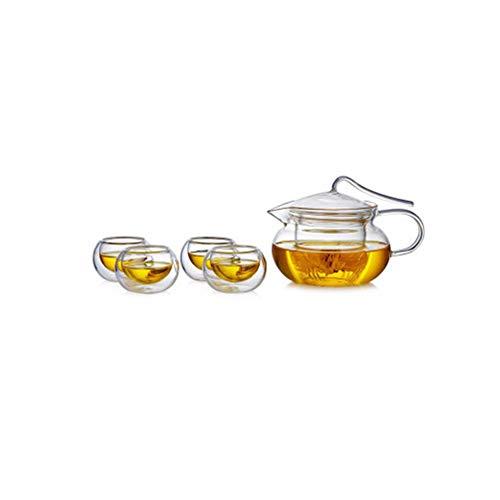 BAIYIQ Juego de té Chino, Tetera de Cristal con infusor, Set de Taza de té y platillo, Juego de Tetera, Set de Taza y Tetera de Cristal, Set de 4 Tazas