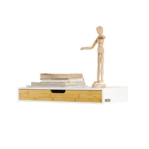 SoBuy® FRG93-WN Étagère Murale avec tiroir en Bois et Bambou, Armoire à clés, Porte-clés Meuble d'entrée de Rangement L60xP24xH8cm