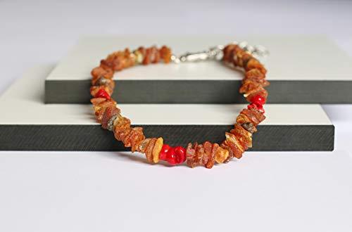 amber-us Bernsteinkette für Hunde aus Roh Baltischer Bernstein mit Rote Koralle verziert | Zeckenhalsband | Bernstein Gegen Zecken | Zecken und Flohschutz Halsband (50-55 cm)