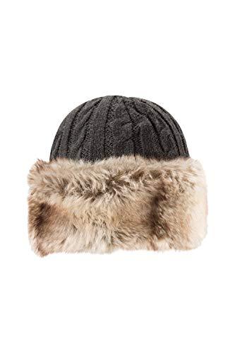 Mountain Warehouse Gorro con Piel sintética para Mujer: cálido, con Forro Polar - para Mantener la Cabeza Caliente y aislada Cuando Hace frío Durante el Invierno Gris Talla única