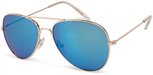 styleBREAKER Kinder Pilotenbrille mit Edelstahl Metall Gestell, verspiegelt oder getönt, Fliegerbrille, Sonnenbrille 09020059, Farbe:Gestell Gold / Glas Blau verspiegelt