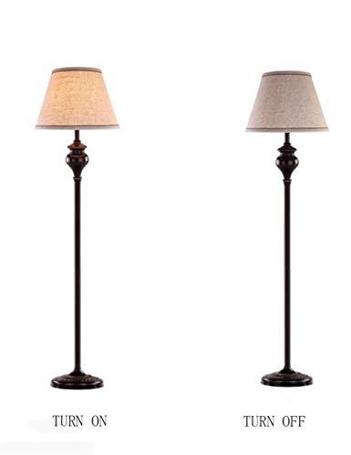 CESULIS Lámpara de pie, estilo europeo de pie luminarias for la sala de lino Shade 360 Ajuste dormitorio de la lámpara retro de la personalidad con Bandeja Bandeja Bombilla incluida, 3 Decoración Ho