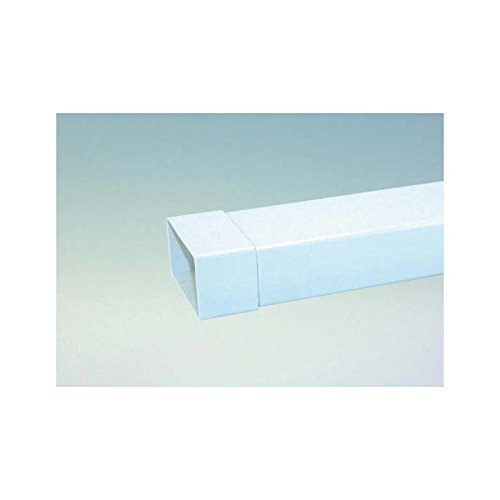 Flachkanal 125er Abluftsystem Vierkantrohr L 100 cm in weiß Ablufttechnik mit Muffe lose aufgesteckt Abluft