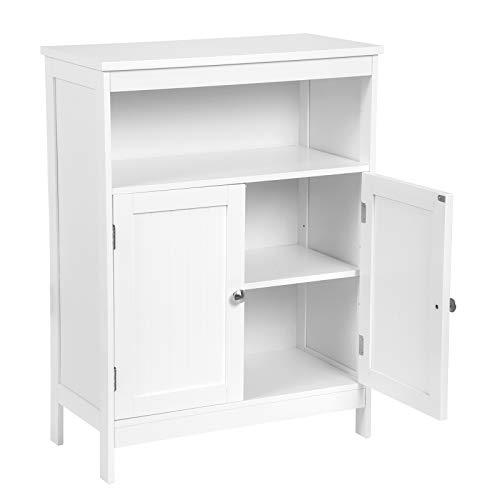 EUGAD 0127WY Badschrank Badzimmerschrank Küchenschrank Beistellschrank in Schlafzimmer Flur aus MDF mit verstellbare Regalebene Weiß 60x30x80cm