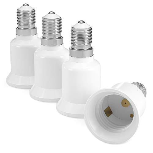 kwmobile 4X Casquillos de lámpara - Adaptador conversor de Montura E14 a Casquillo E27 - Zócalos para lámparas LED halógenas y de Ahorro