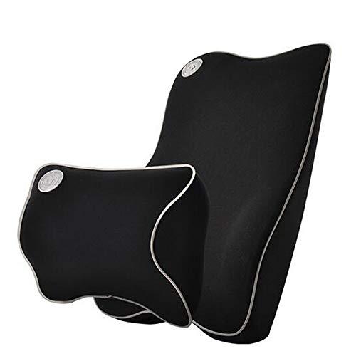 Ecloud Shop Cojín de Soporte Lumbar para Coche y reposacabezas Kit de Almohada para Cuello - Diseño ergonómico Asiento de automóvil Principal para Ajuste Universal - Negro