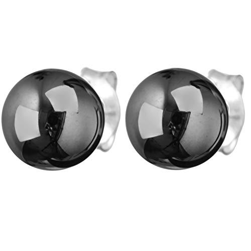 Schmuck-Pur 925/- Sterling-Silber Damen Ohrstecker Ohrringe mit Hämatit-Kugel 7,50 mm