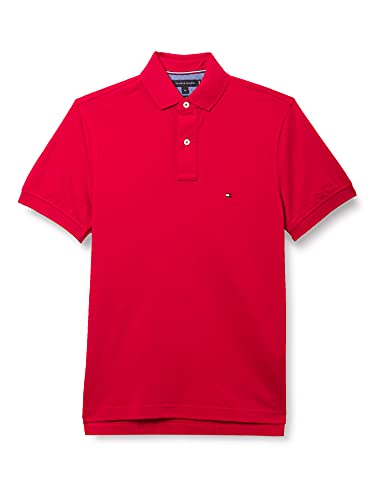 Tommy Hilfiger Tommy Regular Polo - Maglietta Polo Uomo, Rosso (Primary Red), X-Small