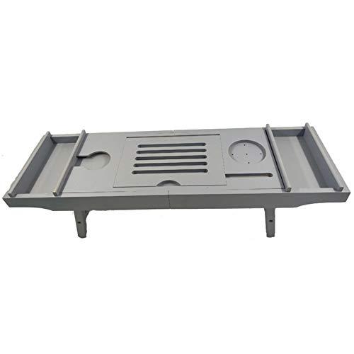 ReedG Bandeja de bañera para bañera ajustable y telescópica, para el hogar para la mayoría de baños (color gris, tamaño: 75 x 23 x 4,5 cm)