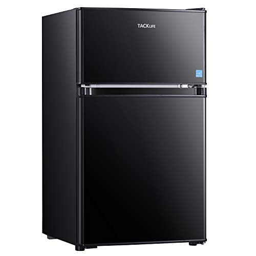 TACKLIFE Mini Fridge with Freezer, 3.2 Cu.Ft Compact Refrigerator, Energy Star Rating, 37DB Low Noise, 2 Door Mini Fridge with freezer, Upright for Dorm, Bedroom, Office, Apartment, Black-MPBFD321