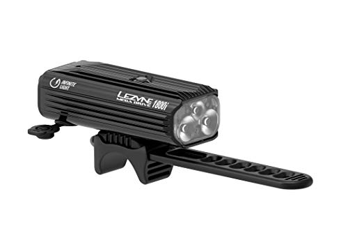 LEZYNE Mega Drive 1800i Bike Smart Headlight | LED Programmable Light, 148H Runtime, 1800 Lumens, USB Rechargeable, Mountain & Road Bike Light (Black)