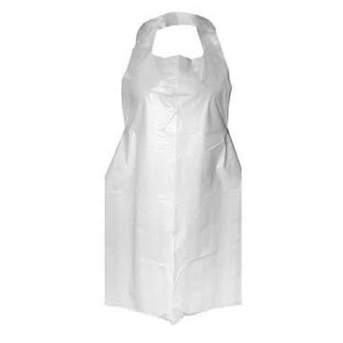 Delantal desechable de plástico blanco 16 micrones, caja de 600