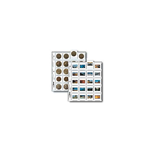 """Print File 35mm Slide Pages Holds Twenty 2x2"""" Mounted Transparencies, Top Loading, Pack of 100"""