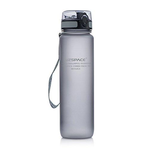 Uzspace Sporthallen Schulen Tritan Wasserflasche Bpa-Frei Wandern Radwandern Wasserflasche Mit Flip-Top Deckel - grau - 1L