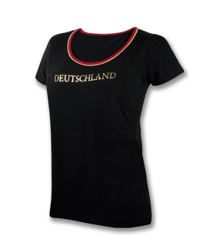 Generique - Deutschland-Fanshirt für Damen Fussball schwarz-rot-Gold L